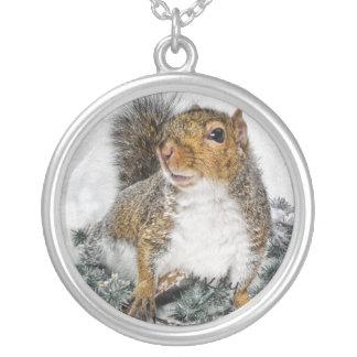 Snow Squirrel Round Pendant Necklace