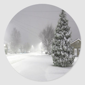 Snow Storm Classic Round Sticker