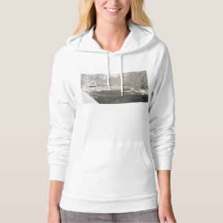 Snow Storm In Somesville Maine Hooded Pullover