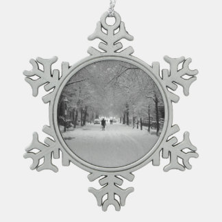 Snow Storm Snowflake Pewter Christmas Ornament