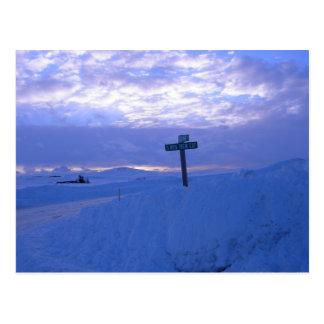Snow & sunset postcard