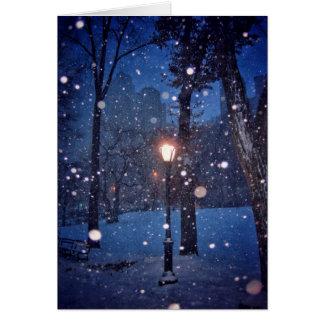 Snow Swirling Around A Streetlamp Card