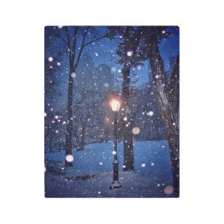 Snow Swirling Around A Streetlamp Metal Print