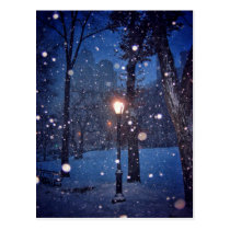 Snow Swirling Around A Streetlamp Postcard