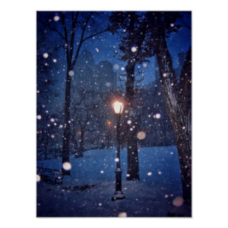 Snow Swirling Around A Streetlamp Poster