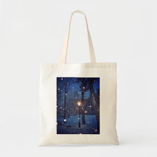 Snow Swirling Around A Streetlamp Tote Bag