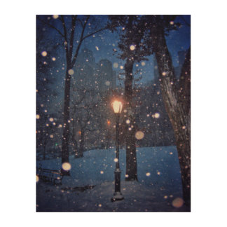 Snow Swirling Around A Streetlamp Wood Print