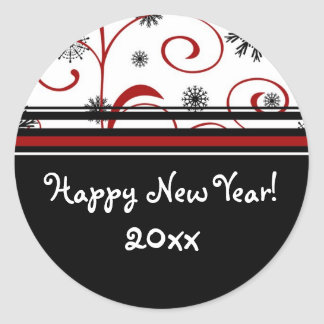 Snow & Swirls Happy New Year Stickers