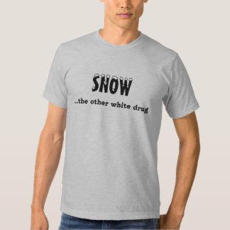 """""""Snow...the other white drug"""" Sledders.com T-shirt"""
