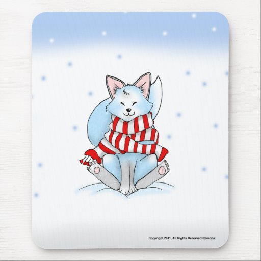 Snow the Winter Fox Mouse Pad