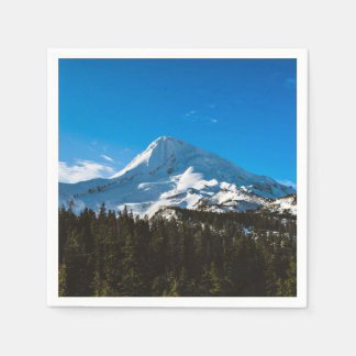 Snow Themed, Peak Of A Snow Covered Mountain Durin Paper Napkin