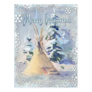 SNOW TIPI & SNOWFLAKES by SHARON SHARPE Postcards