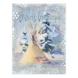 SNOW TIPI & SNOWFLAKES by SHARON SHARPE Postcard