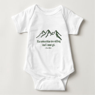 Snow tipped mtns are calling-John Muir Baby Bodysuit
