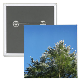 Snow-tipped Pine Tree on Blue Sky 2 Inch Square Button