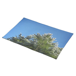 Snow-tipped Pine Tree on Blue Sky Cloth Place Mat