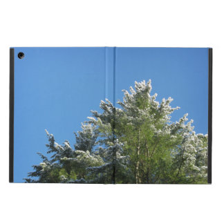 Snow-tipped Pine Tree on Blue Sky iPad Air Cover