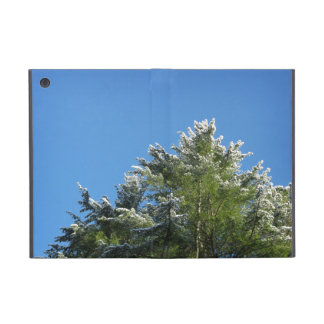 Snow-tipped Pine Tree on Blue Sky iPad Mini Cover