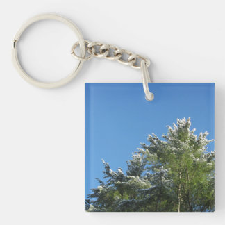 Snow-tipped Pine Tree on Blue Sky Keychain