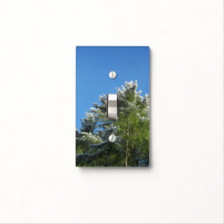 Snow-tipped Pine Tree on Blue Sky Light Switch Cover