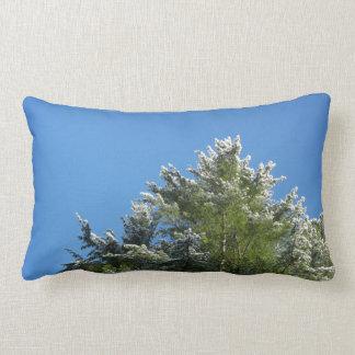 Snow-tipped Pine Tree on Blue Sky Lumbar Pillow