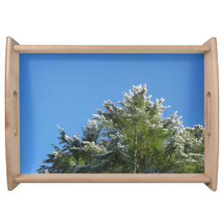 Snow-tipped Pine Tree on Blue Sky Serving Tray