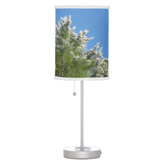 Snow-tipped Pine Tree on Blue Sky Table Lamp