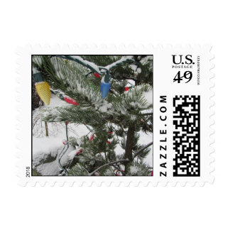 Snow Tipped Trees And Lights Postage Stamp