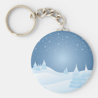 Snow Tipped Trees Basic Round Button Keychain