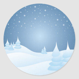 Snow Tipped Trees Classic Round Sticker