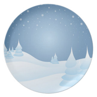 Snow Tipped Trees Melamine Plate