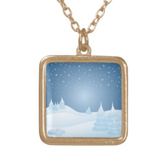 Snow Tipped Trees Square Pendant Necklace