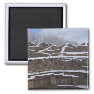 snow topped aztec ruins in new mexico 2 inch square magnet