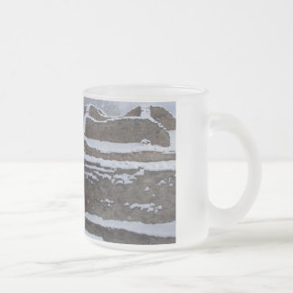 snow topped aztec ruins in new mexico frosted glass coffee mug