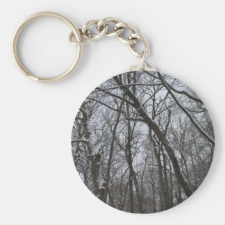 Snow Topped Winter Trees - Tall Icy Frozen Trees Basic Round Button Keychain