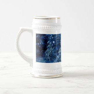 snow trees stein coffee mug