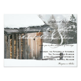 Snow Trees with Heart Winter Wedding Invitations 4.5