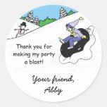 Snow Tubing Birthday Party Favor Bag Sticker Girl