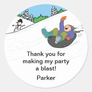 Snow Tubing Birthday Party Favor Stickers BOY