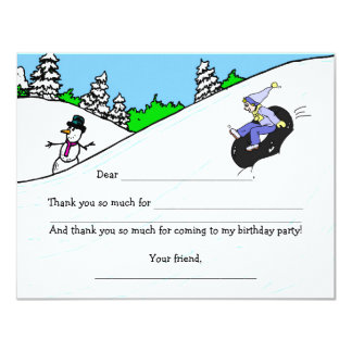 Snow Tubing Girl Birthday Party thank you note Card