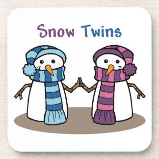Snow Twins Boy and Girl Beverage Coaster