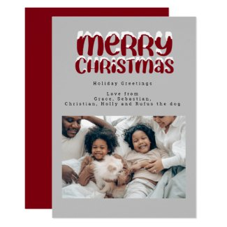 Snow Typography Christmas Photo Personalized Card