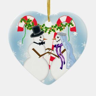 snow wedding save the date ceramic ornament