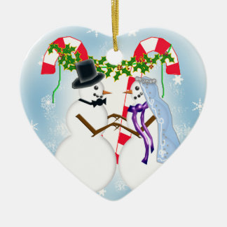 snow wedding save the date Double-Sided heart ceramic christmas ornament