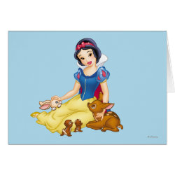 Greeting Card with Disney Princess Snow White with cute furry animal friends design