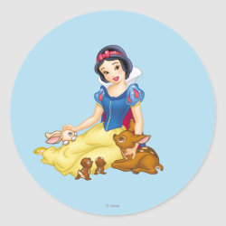 Round Sticker with Disney Princess Snow White with cute furry animal friends design