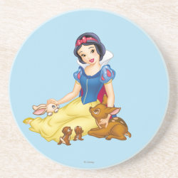 Sandstone Drink Coaster with Disney Princess Snow White with cute furry animal friends design