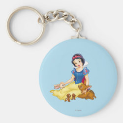 Basic Button Keychain with Disney Princess Snow White with cute furry animal friends design
