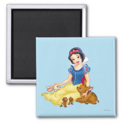 Square Magnet with Disney Princess Snow White with cute furry animal friends design