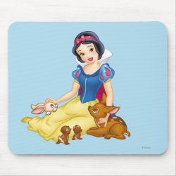 Mousepad with Disney Princess Snow White with cute furry animal friends design